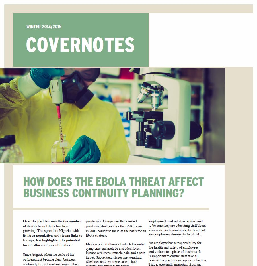 "Winter 2014-2015 ""Covernotes"" Newsletter"