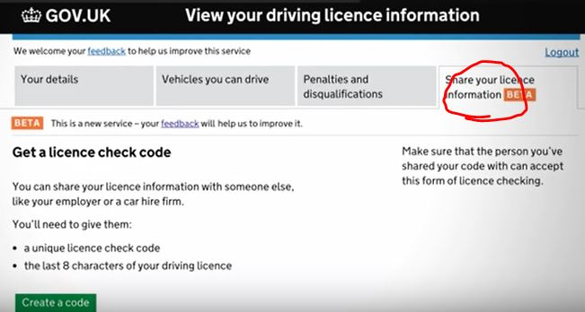 share your licence information code