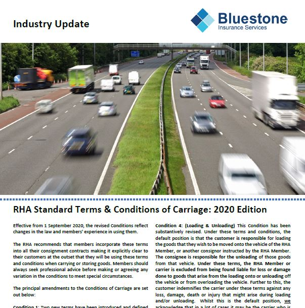 Haulage Industry Update: RHA Standard Terms of Carriage 2020