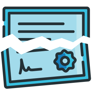 Certificate loss icon