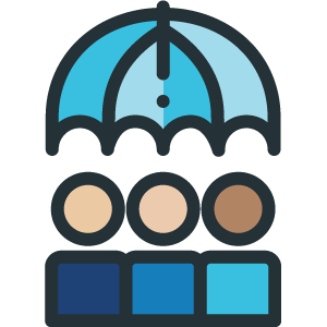 Team with umbrella icon